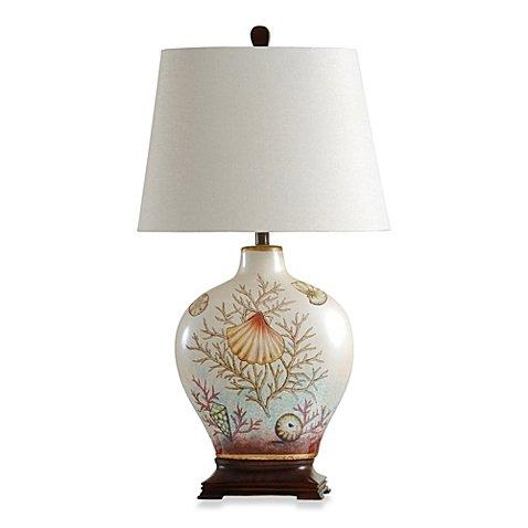Coastal Coral Bay Ceramic Table Lamp Oval beige shade