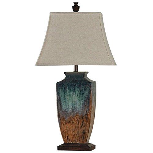 Reactive Glaze Ceramic Table Lamp Transitional Rustic