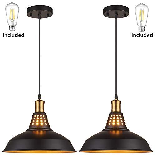 Amabao Lighting 2 Lights Black Metal Industrial Barn Pendant Lights E26 Bulb BaseLED Bulbs Included