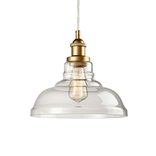 Brass Clear Glass Pendant Lights Barn Shape Hanging Pendant Lighting