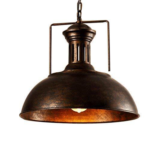 Modern Industrial Vintage Nautical Barn Pendant Light - Minimalist Ecopower Ceiling Light Hanging Lighting Wide Fixture Edison Light for Kitchen Dining Room Barn Loft 33cmRust