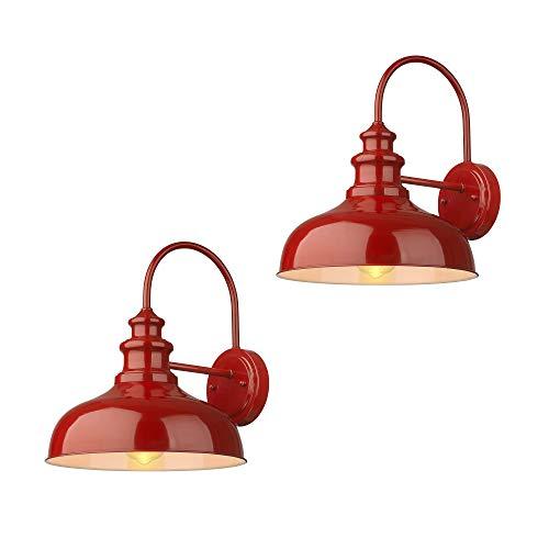 Zeyu Vintage Barn Light 2 Pack Gooseneck Sconce Lights in Red Finish 02A390-2 RED