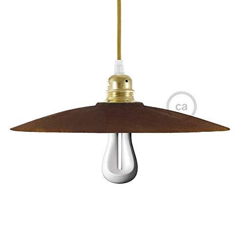 CA Creative Cables Ceramic Dish Pendant Light Lampshade - Corten Rust - Artisan Crafted - Brass