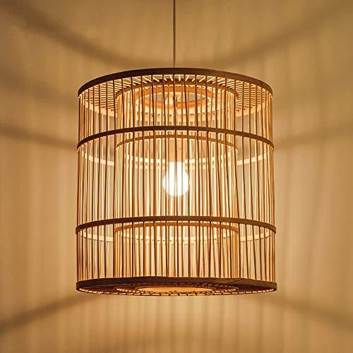Bamboo Birdcage Chandelier Retro Light Fixtures Wicker Light Fixtures Chandelier Dinging Room Ceiling Lamp Farmhouse Pendant Light,Wicker Rattan Shades Weave Lamp YZPDD