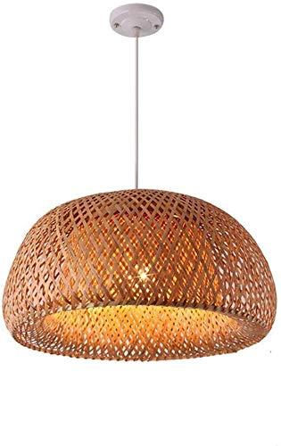 Chinese Style Bamboo Chandelier Retro Light Fixtures Chandelier Villa Patio Ceiling Lamp Farmhouse Pendant Light,Restaurant Hotel Wicker Rattan Shades Weave Lamp E27(Coffee)