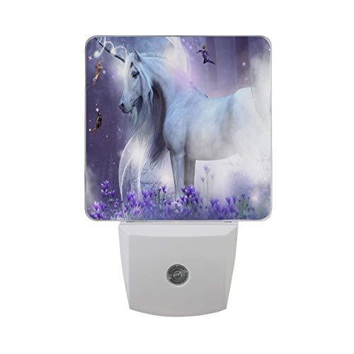 OREZI Unicorn and Beautiful Flower LED Plug in Night Light for Kids- Wall Lamp Take Good Care Children Sleep Light Sensor Auto Controlled Nightlights for Baby Nursing