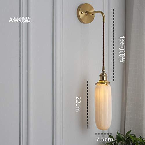 Bedroom Bedside lamp Japanese Brass Ceramic Wall lamp Nordic Minimalist Bedroom Bedside lamp Retro Aisle Porch Mirror FrontA Belt line_with 12 watt led Light Source Default Warm Light