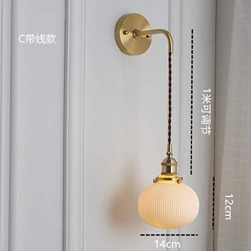 Bedroom Bedside lamp Japanese Brass Ceramic Wall lamp Nordic Minimalist Bedroom Bedside lamp Retro Aisle Porch Mirror FrontC Belt line_with 12 watt led Light Source Default Warm Light
