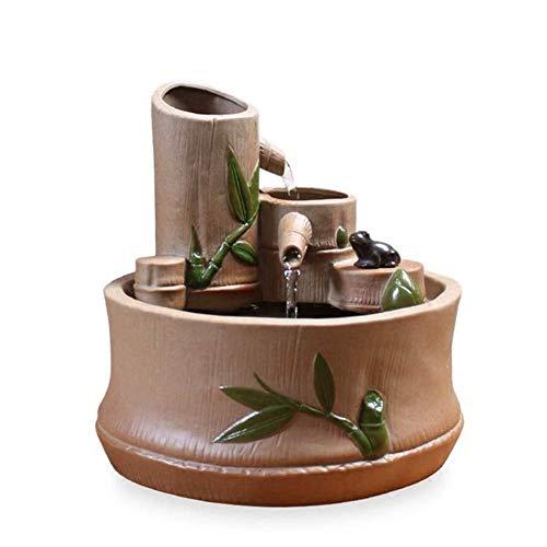 ZXvbyuff Indoor Water Fountain - Bamboo Tube Feng Shui Ornaments - Desktop Electric Water Fountain Decor - Ideal BirthdayAnniversaryWedding Present