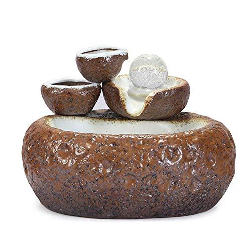 ankt777 Desktop Electric Water Fountain Decor - Indoor Water Fountain - Ceramics Zen Feng Shui Ornaments - Ideal BirthdayAnniversaryWedding Present