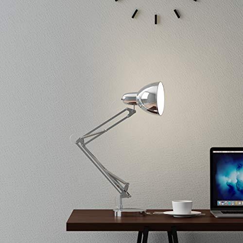 Lavish Home Architect Desk Lamp-LED Task Adjustable Swing Arm for Home and Office-Includes Energy Efficient Light Bulb Metal Chrome