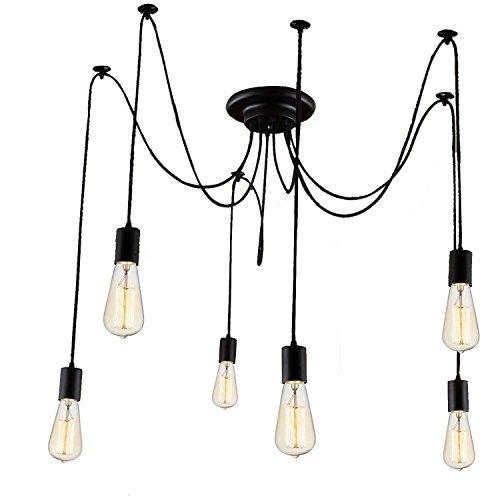 Lemonbest 6 Head E27 Vintage Diy Ceiling Chandelier Light Fixtures Antique Adjustable Flush Mount Pendant Light
