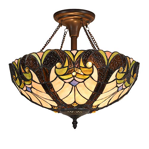 Cotoss Tiffany Ceiling Light Semi Flush Mount Victorian Light 16 inch Antique Stained Glass Ceiling Fixture 2 Light Hanging Lampshade for Dining Room Living Room