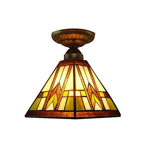 LITFAD Tiffany Mission Style Semi-Flush Mount Ceiling Light Fixture 110V-120V 8 Width 1 Light Ceiling Lamp Pendant Light for Hallway Bedroom Balcony