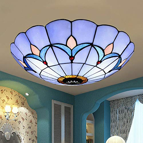 Tiffany Style Semi Flush Mount Light Glass Shade Flower Ceiling Fixture Ceiling Lighting Fixtures Modern 12 inch Blue