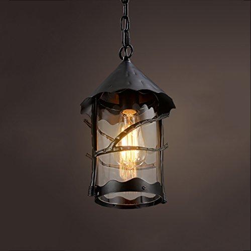Retro Coffee Restaurant Bar Decorative Lights Creative Aisle Iron Glass Cover Chandelier Ceiling Light Color  Black
