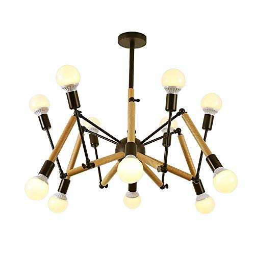 Multi-head Adjustable Chandeliers Modern BlackWhite Iron Wood Spider-shaped Lighting Decorative Ceiling Lamps E27 68101216 Lights Pendant Light Color  Black Size  12heads