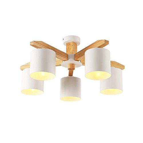 Pendant Light Sanguinesunny Ceiling Lamp Modern Style Wooden Chandelier 5-Light Hanging Light Fixture E27 Bulb 110V-220V