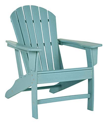 Benjara BM209701 Contemporary Plastic Adirondack Chair with Slatted Back Blue