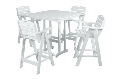 Polywood Pws144-1-wh Nautical 5-piece Bar Set With Table And Chair White