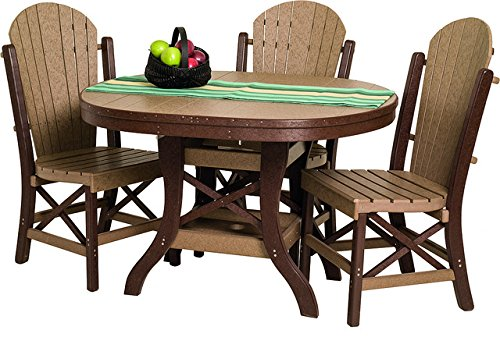 Poly Lumber Patio Furniture Set Including 1 Oval Table 48 and 4 Side Chairs in Weathered Wood - Amish Made in USA