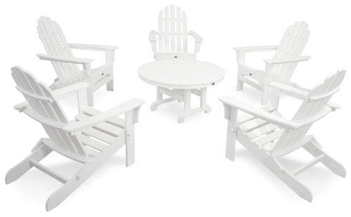 Trex Outdoor Furniture TXS115-1-CW Cape Cod 6-Piece Folding Adirondack Conversation Set Classic White