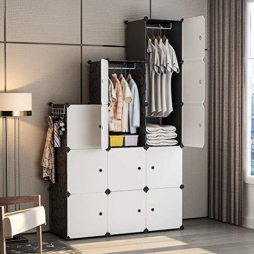 GEORGE&DANIS Clothes Closet Wardrobe Plastic Dresser Cube Organizer Storage Carbinet Shelf DIY Furniture Black 18 inches Depth 3x5 Tiers Trapezoid
