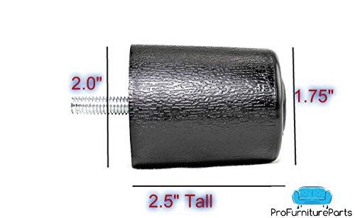ProFurnitureParts 25 Inch Round Sofa Legs in Black Color Sold as Set of 4 HDPE Plastic