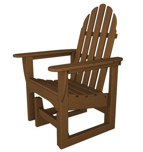 POLYWOOD ADSGL-1TE Classic Adirondack Glider Chair Teak