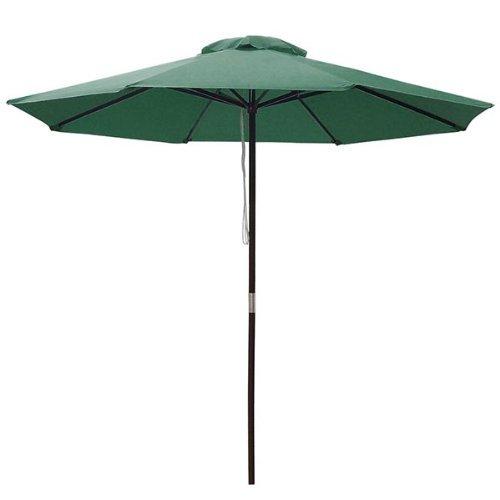 9 Foot Patio Furniture Wood Market Umbrella Green