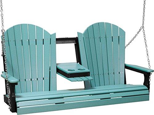 Furniture Barn USA Outdoor 5 Foot Adirondack Swing - Aruba Blue and Black Poly Lumber - Recycled Plastic