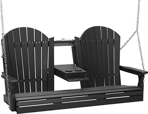 Furniture Barn USA Outdoor 5 Foot Adirondack Swing - Black Poly Lumber - Recycled Plastic