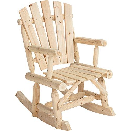 Outdoor Log Adirondack Rocker  Rocking Chair - Natural Wood Product Sku Pf09102