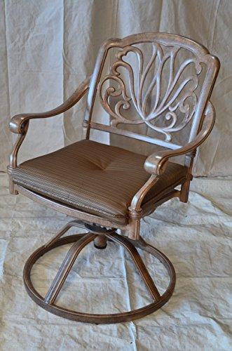Elizabeth Outdoor Patio 4 Swivel Rocker Dining Chairs Mocha Color Cast Aluminum Walnut Cushions