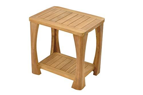 SpaTeak Grade-A Teak Wood Athena Shower Seat 18 Outdoor Patio Stool Bench