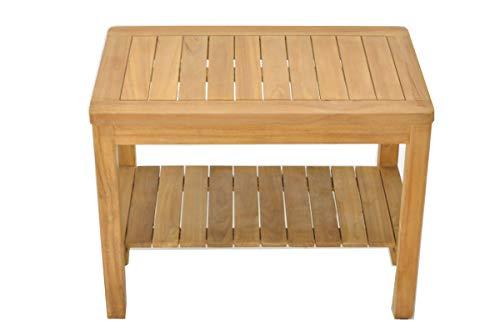 SpaTeak Grade-A Teak Wood Dublin Shower Seat 30 Outdoor Patio Stool Bench
