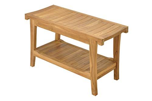 SpaTeak Grade-A Teak Wood Istanbul Shower Seat 30 Outdoor Patio Stool Bench
