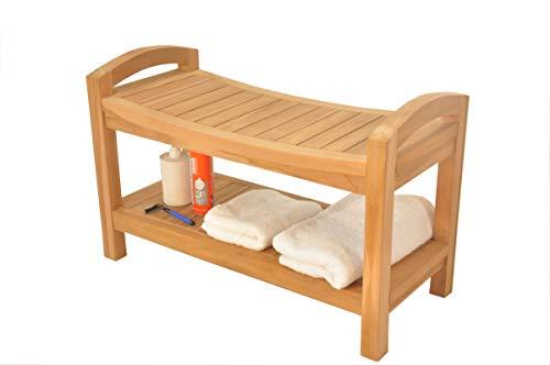 SpaTeak Grade-A Teak Wood Madrid Shower Seat 30 Outdoor Patio Stool Bench
