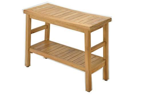 SpaTeak Grade-A Teak Wood Manchester Shower Seat 30 Outdoor Patio Stool Bench