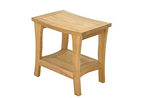 SpaTeak Grade-A Teak Wood Melbourne Shower Seat 18 Outdoor Patio Stool Bench