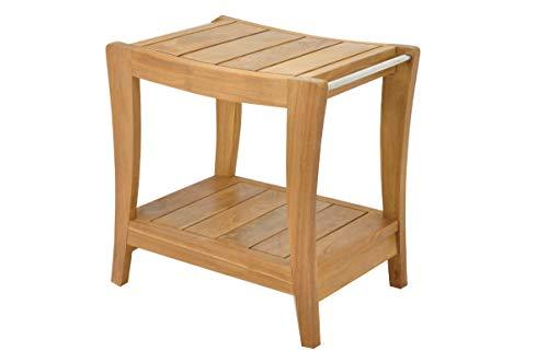 SpaTeak Grade-A Teak Wood Paris Shower Seat 18 Outdoor Patio Stool Bench