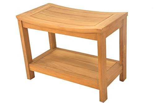 SpaTeak Grade-A Teak Wood Praha Shower Seat 24 Outdoor Patio Stool Bench