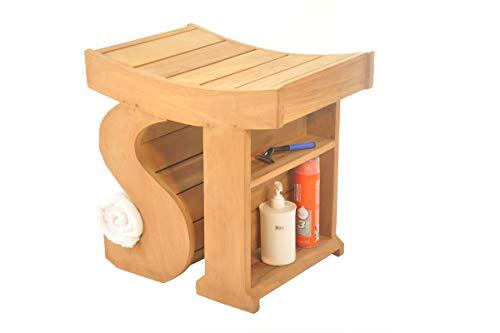 SpaTeak Grade-A Teak Wood Sparta Shower Seat 18 Outdoor Patio Stool Bench