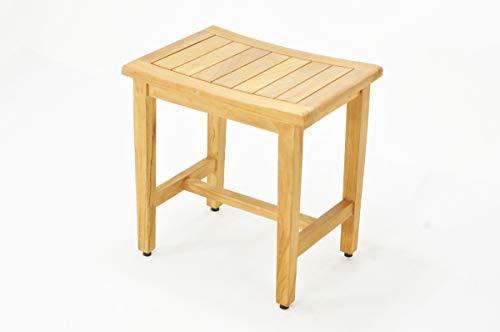 SpaTeak Grade-A Teak Wood Wina Shower Seat 18 Outdoor Patio Stool Bench