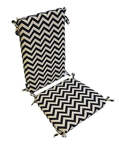 Indoor  Outdoor Black and Ivory Chevron  Zig Zag Print Rocking Chair 2 Pc Foam Cushion Set ~ Fits Cracker Barrel Rocker