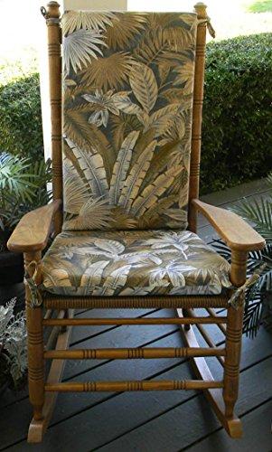 Indoor  Outdoor Tommy Bahama Ocean Blue Tan Tropical Palm Leaf Floral Print Rocking Chair 2 Pc Foam Cushion Set ~ Fits Cracker Barrel Rocker