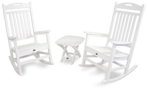 Trex Outdoor Furniture Txs121-1-cw Yacht Club 3-piece Rocker Chair Set Classic White