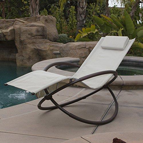 Belleze Orbital Lounger Chair Garden Patio Portable Pool Beach Outdoor Foldable beige