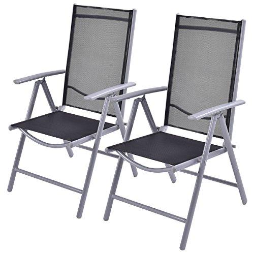 Giantex Set Of 2 Patio Folding Chairs Adjustable Reclining Indoor Outdoor Garden Pool