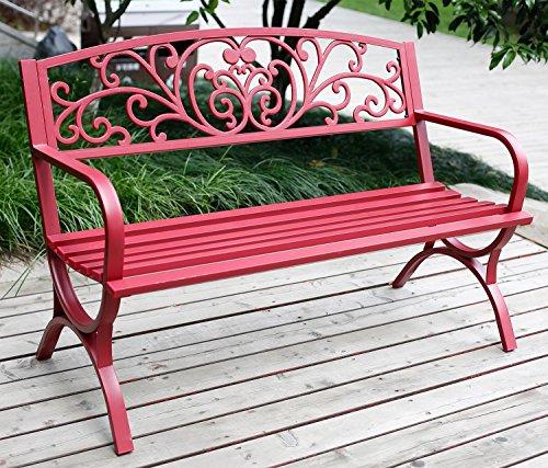 Merax Classic Outdoor Garden Bench  Patio Park Chair Red